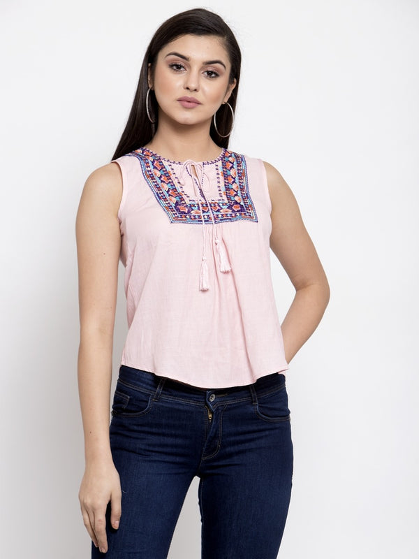 Women Embroidered Pink Tie-Up Neck Top