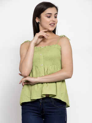 Women Solid Green Off Shoulder Straps Top