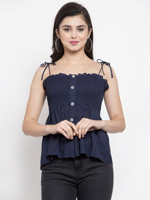 Women Solid Navy Blue Off Shoulder Straps Top