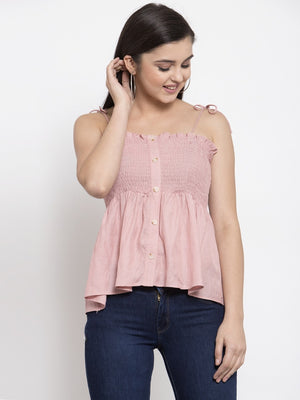 Women Solid Pink Off Shoulder Straps Top