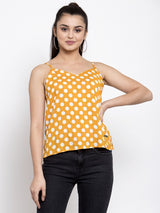 Women Polka Dots Mustard V-Neck Top