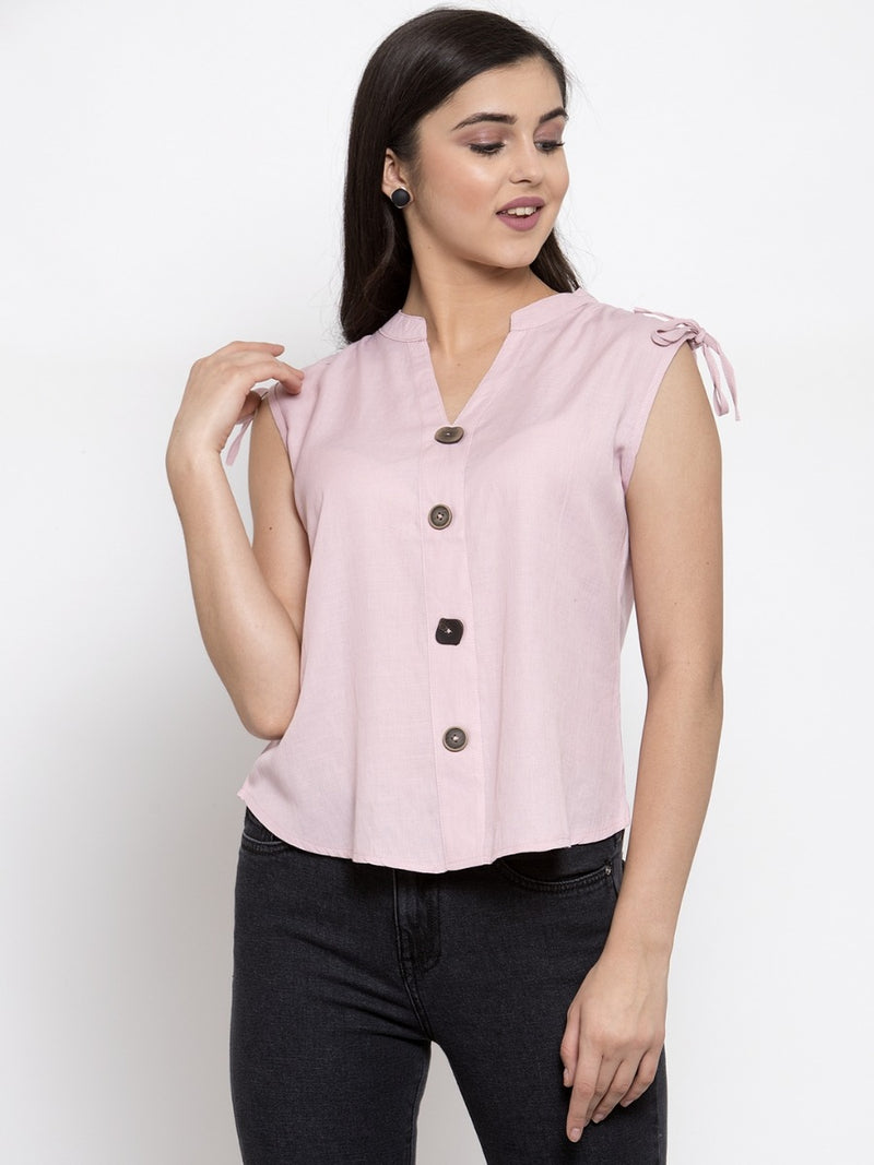 Women Solid Pink Mandarin Collar Shirt Top