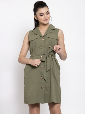 Women Solid Green Shirt Collar Dress