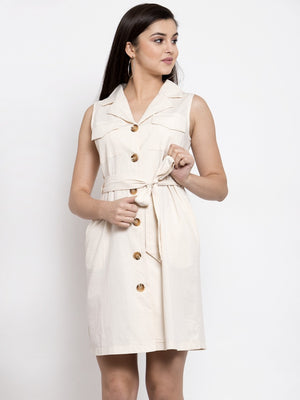 Women Solid White Shirt Collar Dress