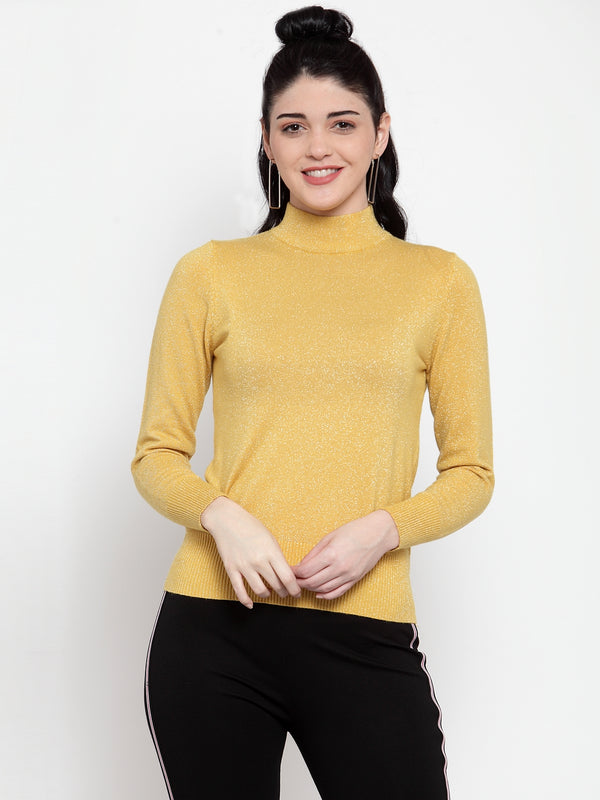 Women Mustard Silver Turtle Neck Full Sleeve Skeevi Pullover