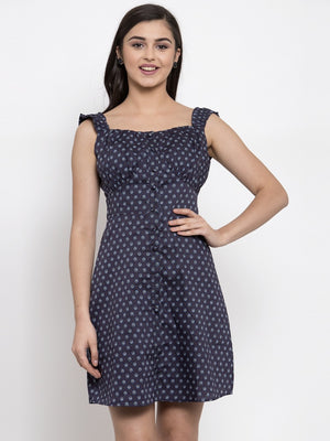 Women Printed Navy Blue Square Neck Dress