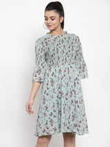 Women Printed Green Round Neck Crape Dress