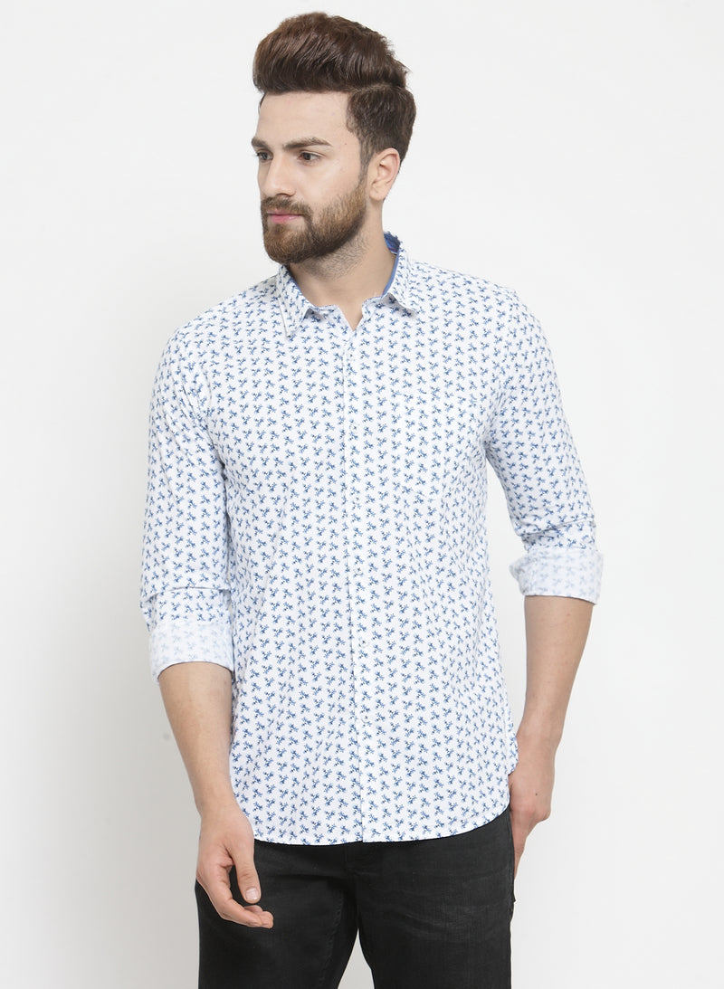 Men Printed White Shirt