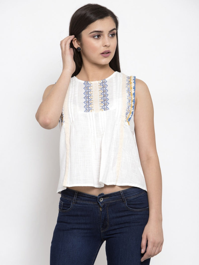 Women White Sleeveless Embroidered Top
