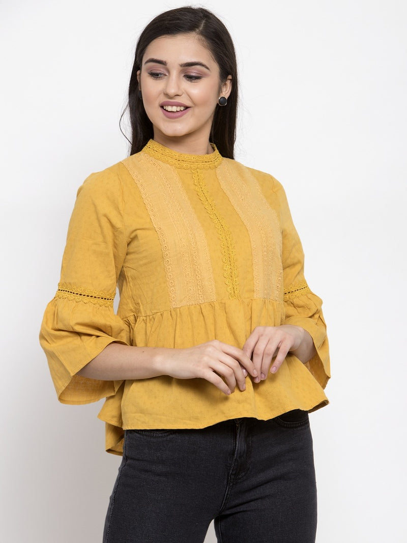 Women Mustard High-Neck Top With Crochet Details