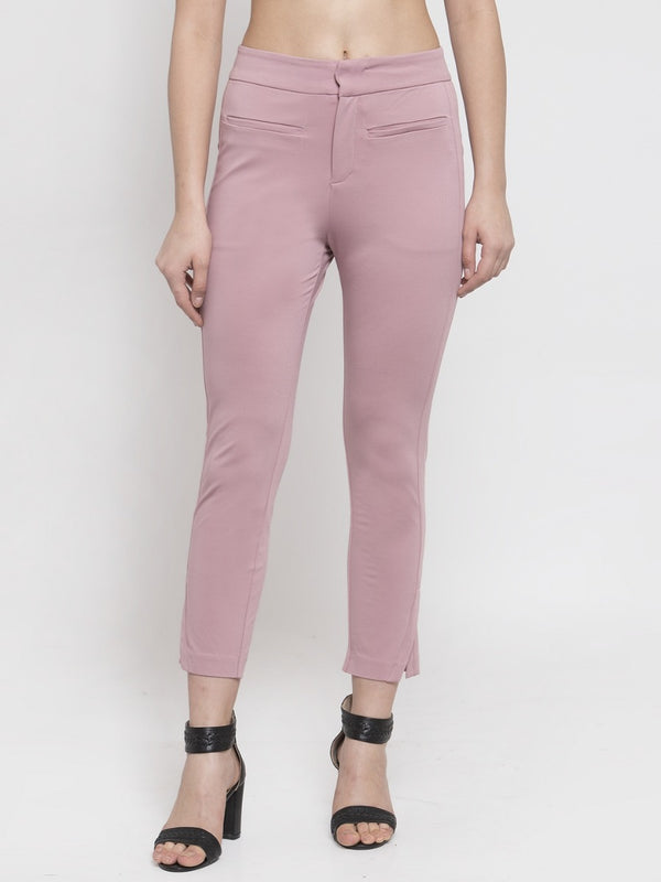 Women Solid Pink Poly Cotton Trouser