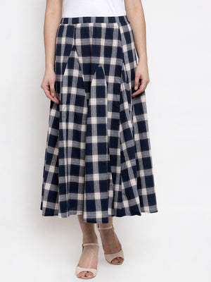 Women Checked Navy Blue Cotton Skirt