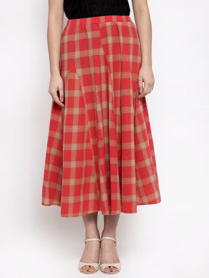 Women Checked Red Cotton Skirt