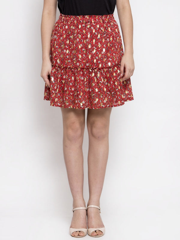 Women Red Mini Skirt With Foil Print
