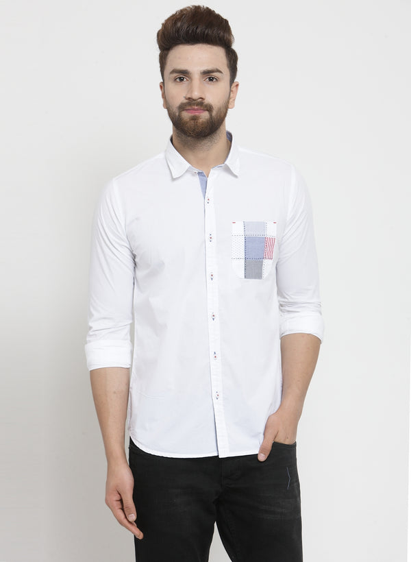 Men Solid White Shirt With Patched Pocket