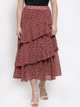 Women Printed Red Tiered Skirt