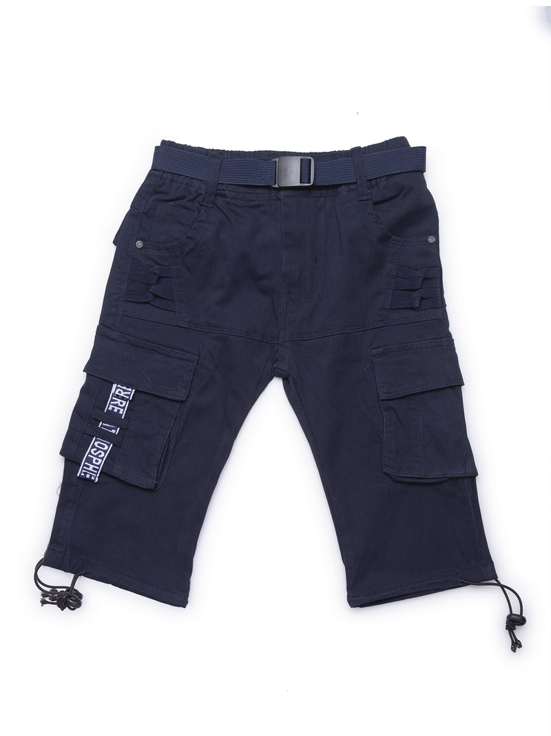 Kids Navy Blue Cargo Capri With Relaxed Fit