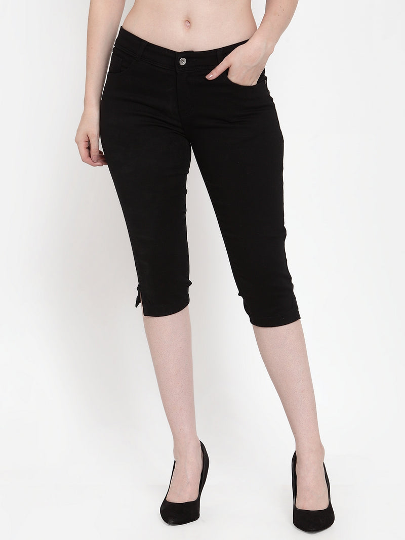 Women Black Denim Solid Capri