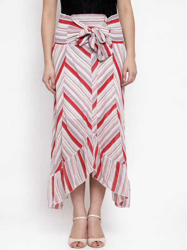 Women Striped Red Skirt With Asymmetrical Hem