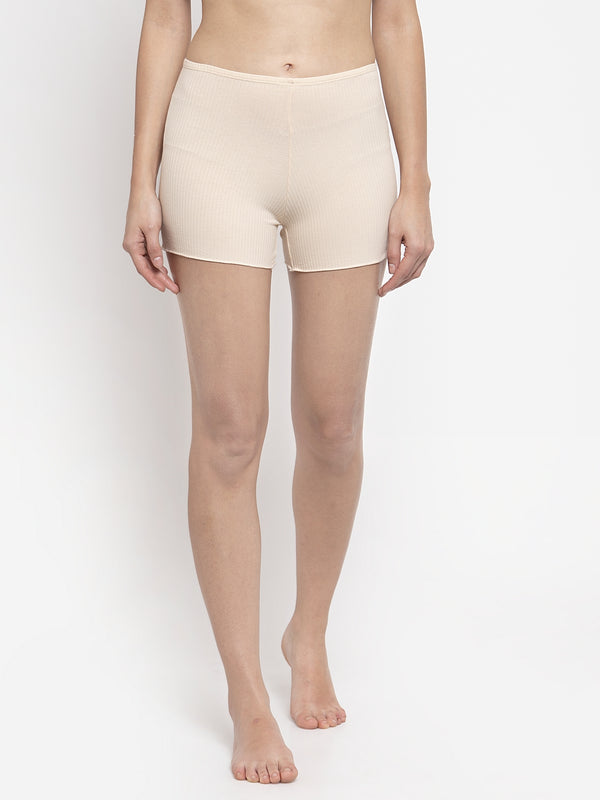 Women Solid Beige Cotton Brief Shorts