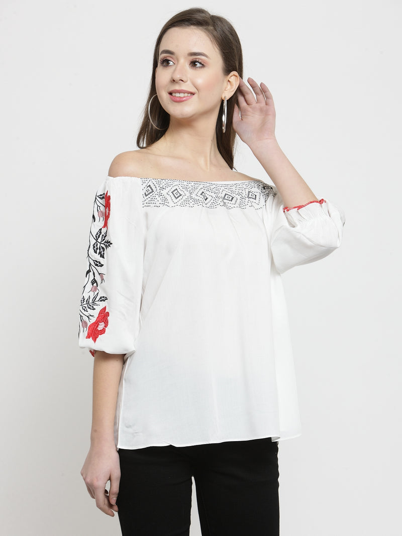 Women White Embroidered Off Shoulder Regular Fit Tops