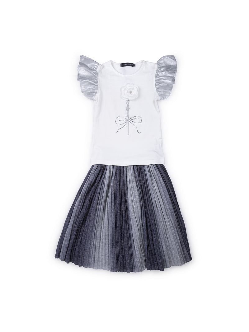 Kids White Set Of Top And Skirt