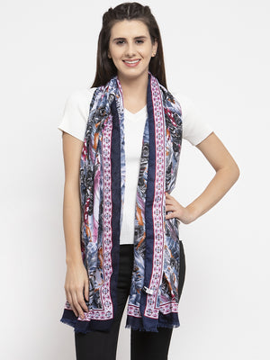 Women Printed Navy Blue Polyester Stole