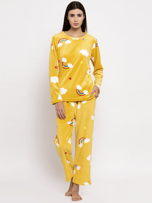 Women Mustard Printed Round Neck Night Suit
