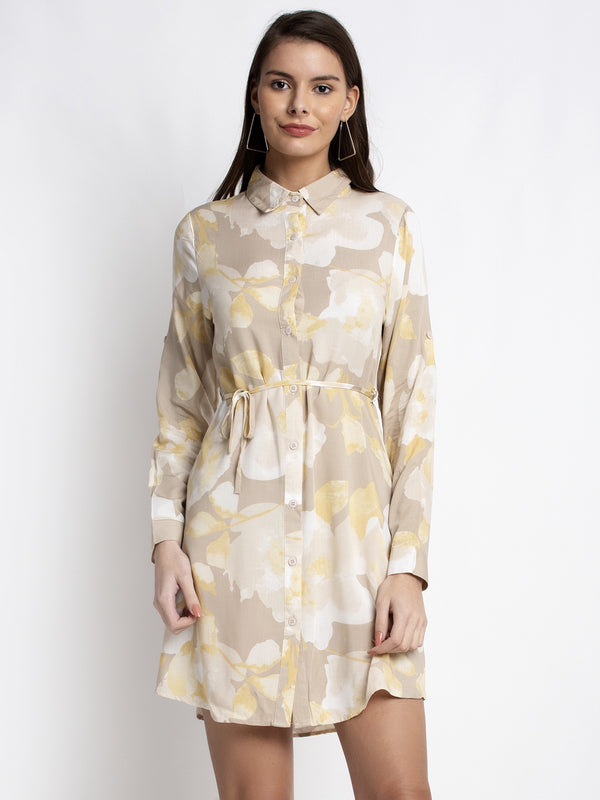 Women Beige Shirt Collar Printed Tunic