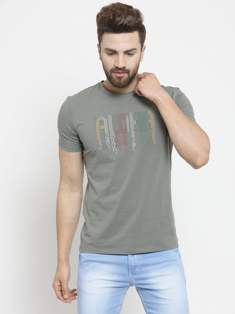 Men Aloha Sequinned Olive Green T-Shirt