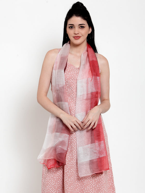 Women Rust Blended Printed Stole