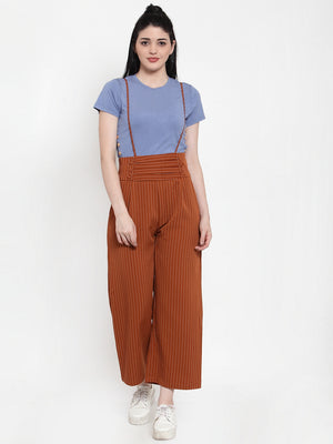 Women Brown Polyester Striped Dungaree