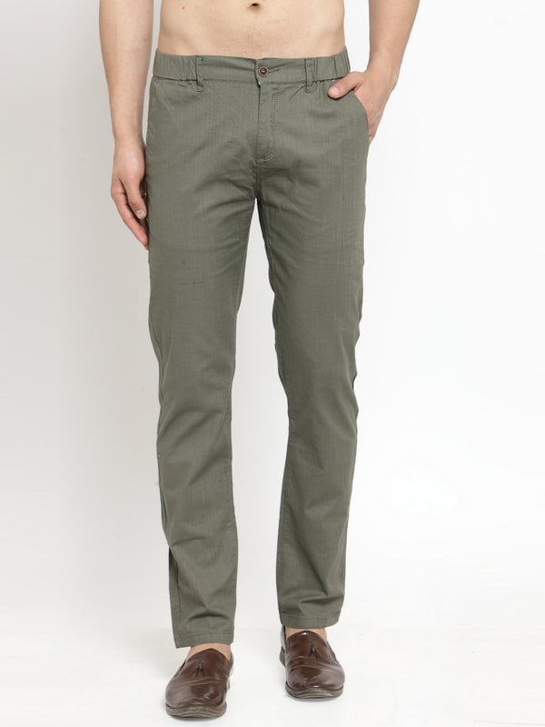 Mens Green Cotton Linen Soild Trousers
