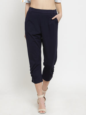 Women Navy Blue Solid Relaxed Fit Capri