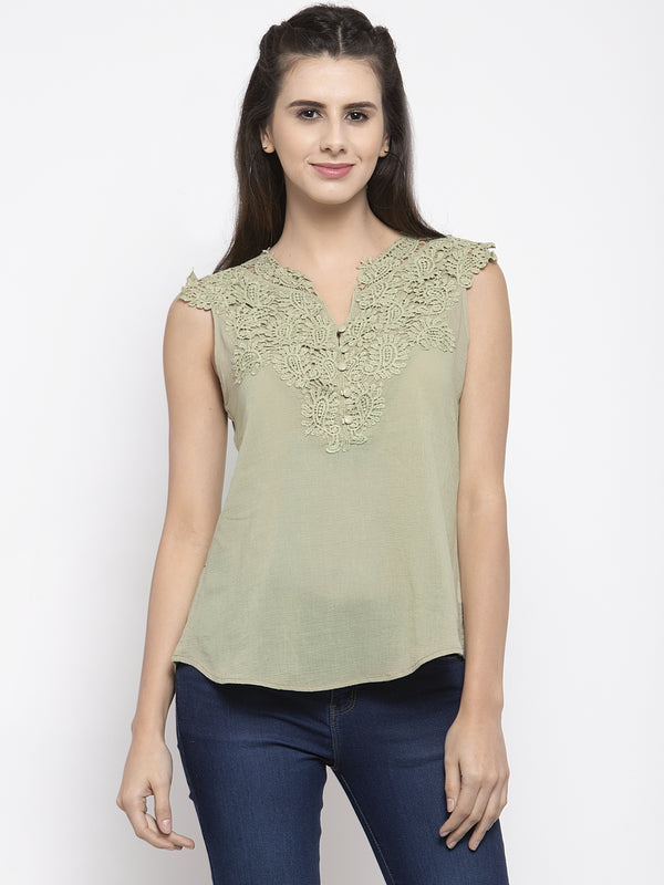 Women Green Lace Detailed Top