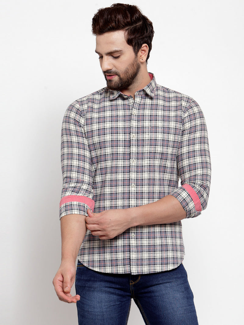 Men Grey Checked Regular Fitted Shirt
