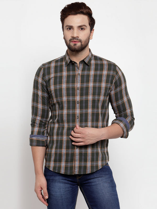 Men Green Checked Regular Fitted Shirt