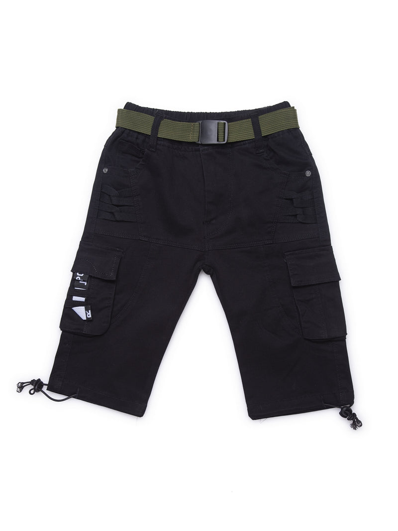 Kids Black Relaxed Fit Cargo Capri