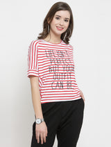 Women Red Striped Round Neck Regular Fit Tops