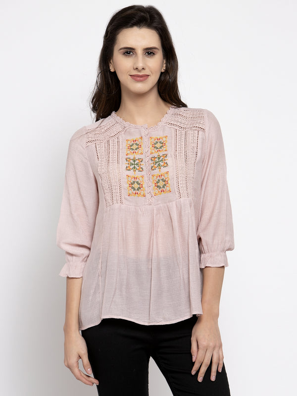 Women Pink Embroidered Top With Crochet Details