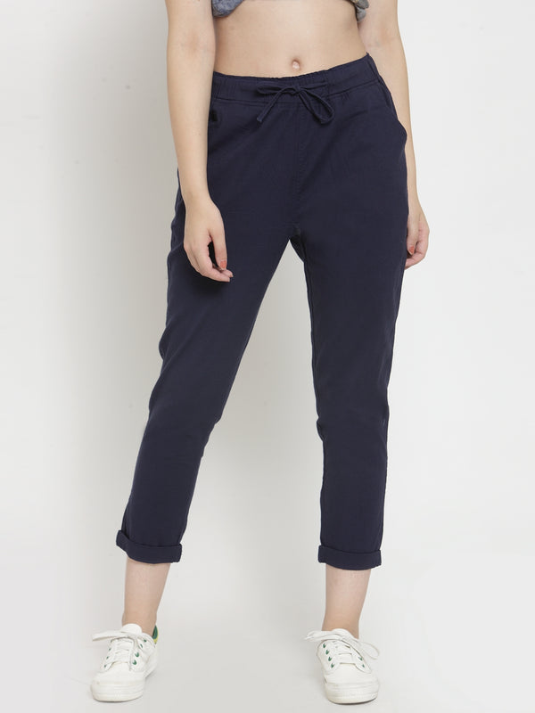 Women Navy Blue Solid Lower