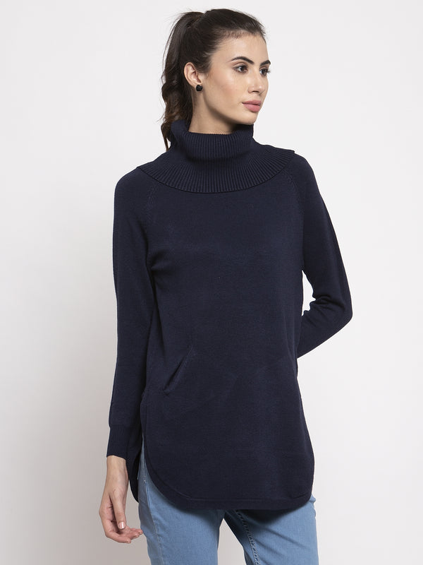 Women Navy Blue Long Sleeves Solid Pullover