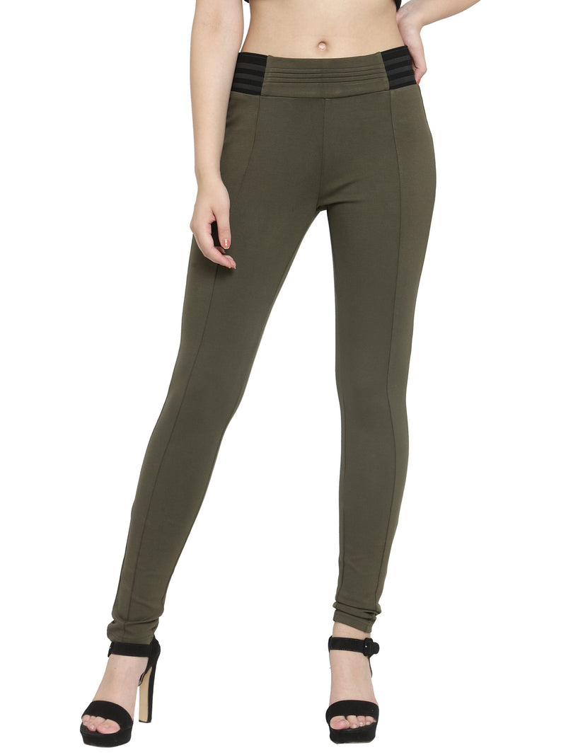 Women Olive Solid Skinny Fit Jegging