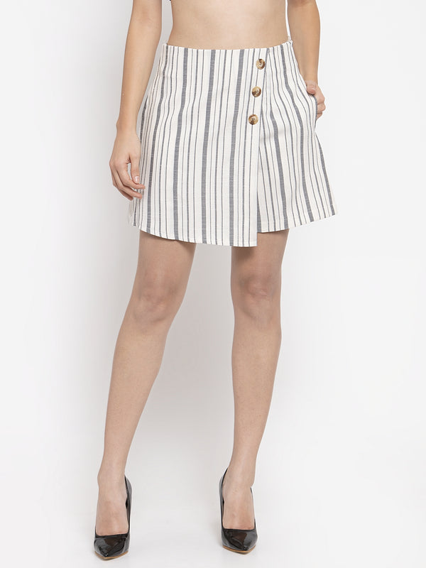 Women Striped White Skirt Like Shorts