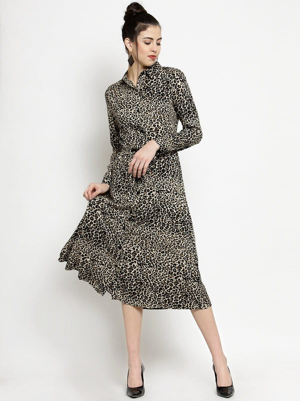 Women Cheetah Printed Shirt Collar Dress