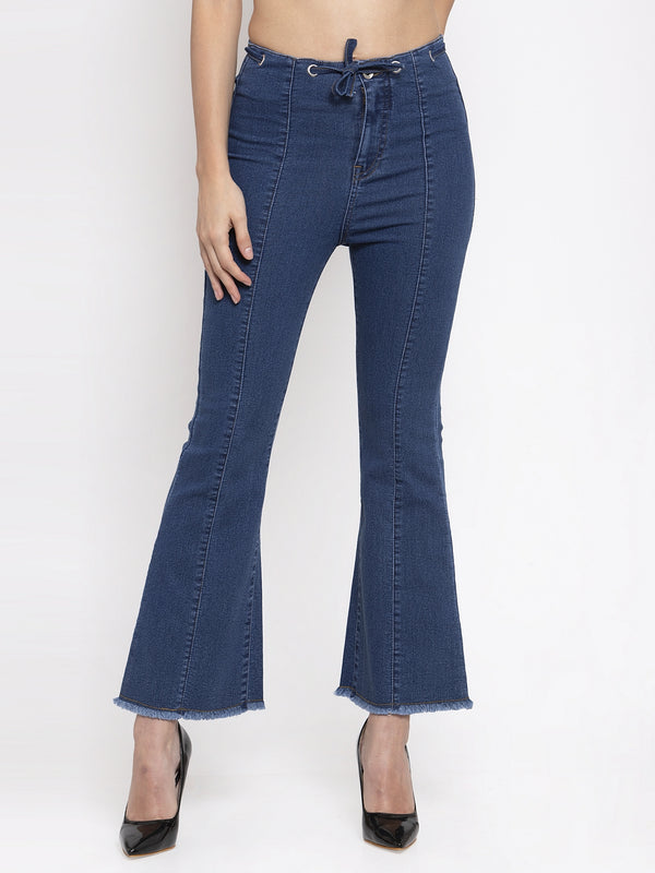 Women Solid Blue Denim Jeans