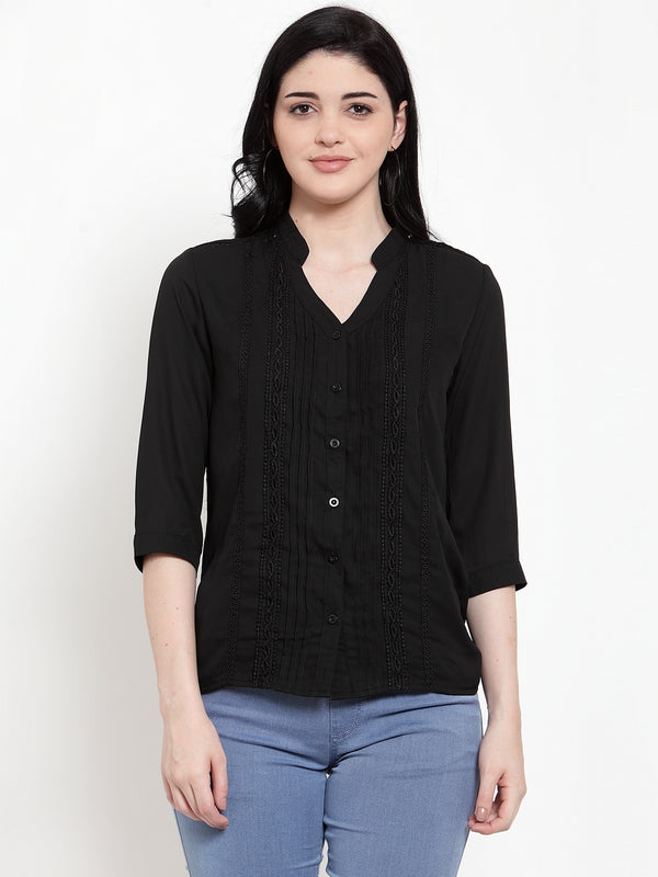 Women Black Crepe V Neck Solid Blouse