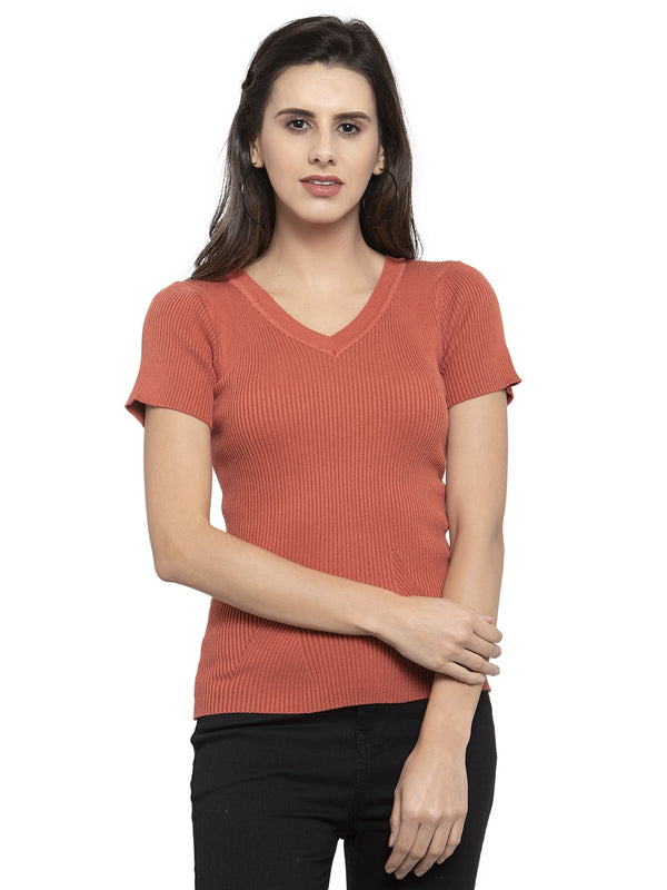 Women Solid Tan and Black Viscose Combo of 2 Tops