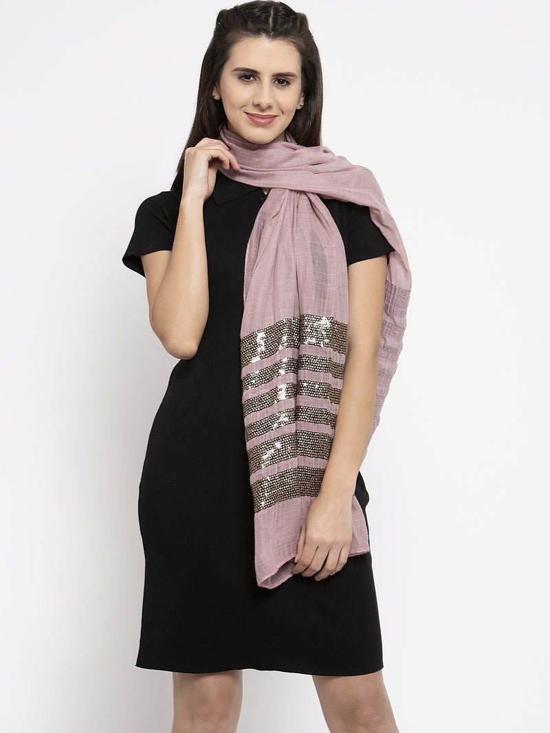 Women Pink Sequined Stripes Stole