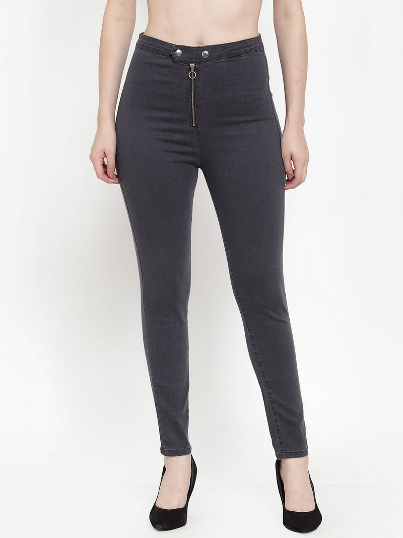 Women Grey Denim Solid Jegging
